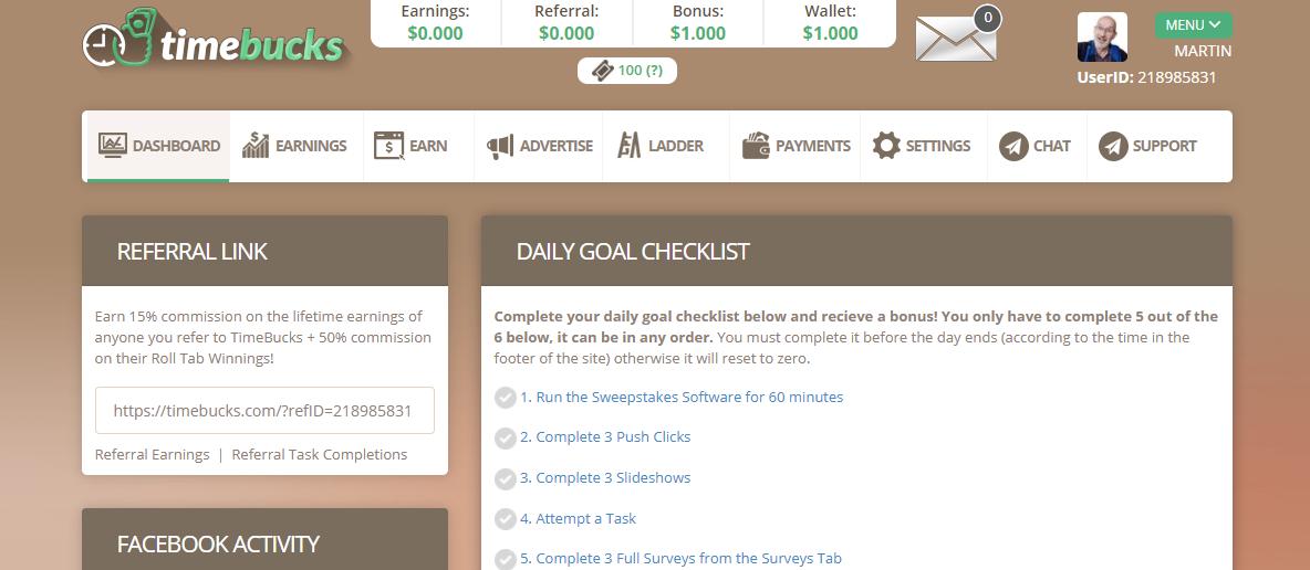 timebucks review dashboard