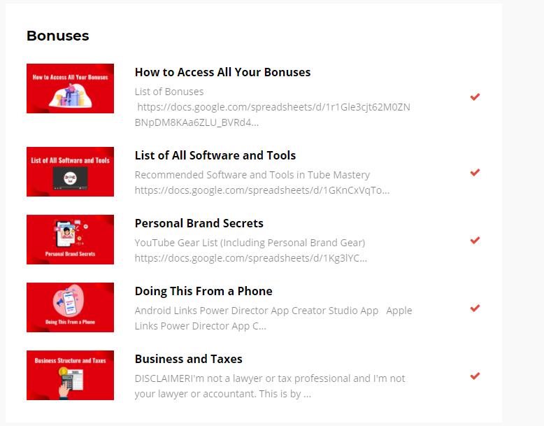 bonuses youtube mastery