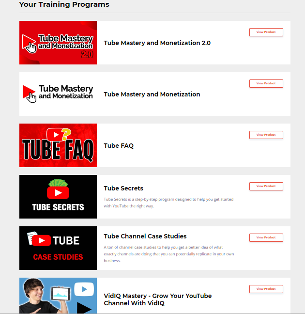 youtube mastery and monetization products